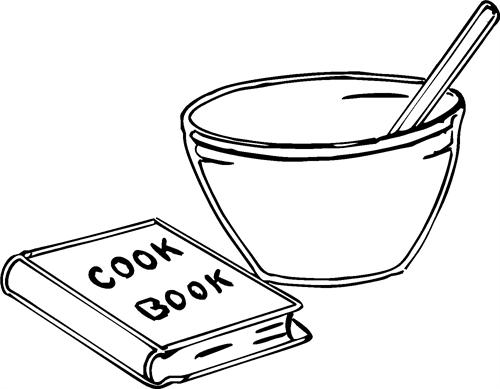 Bowl, Cook Book & Spoon