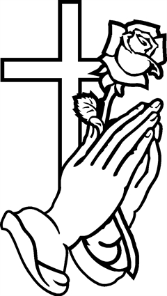 Praying Hands25 with Cross and Rose